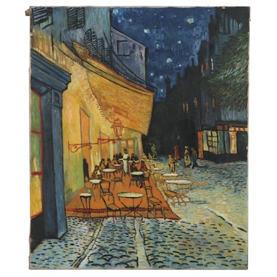 """Oil Painting After Vincent Van Gogh """"Café Terrace at Night,"""" Mid-20th Century"""