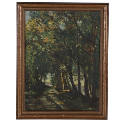 Mildred Key Landscape Oil Painting of Forest, 1940