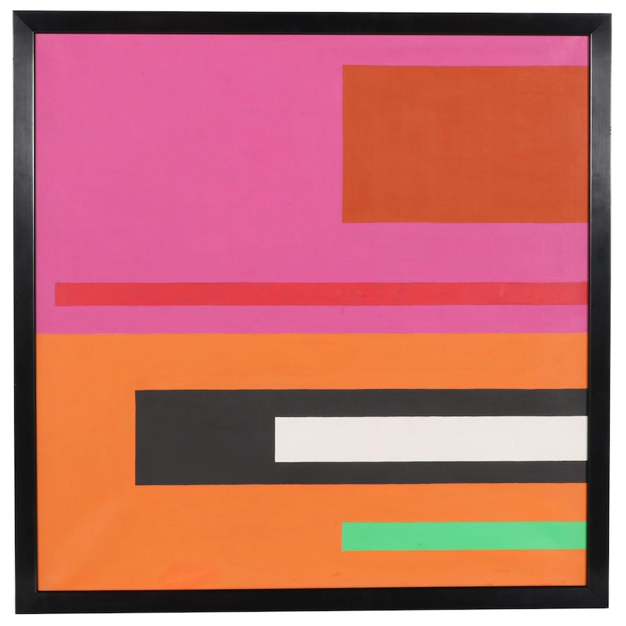 Jacques Weyer Geometric Abstract Acrylic Painting, 1999