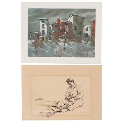 Robert Fabe Drawing and Offset Lithograph