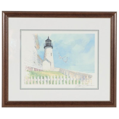 Don Dennis Offset Lithograph of Lighthouse