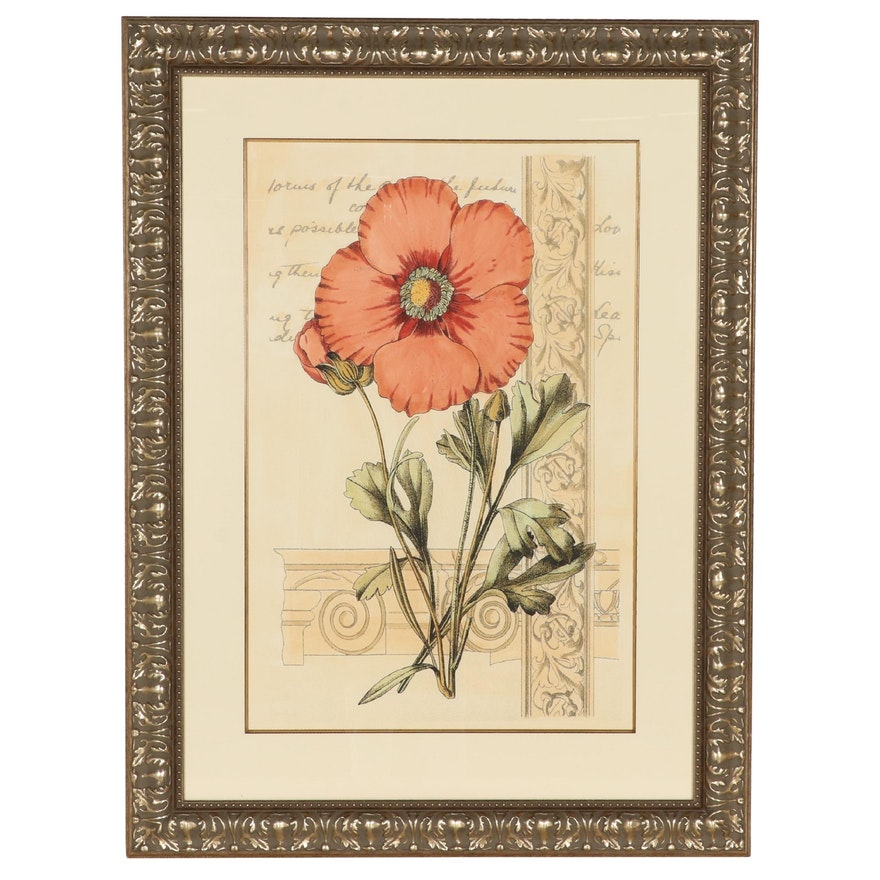 """Old World Prints Hand-Colored Lithograph """"Oversize Poppy I,"""" Late 20th Century"""