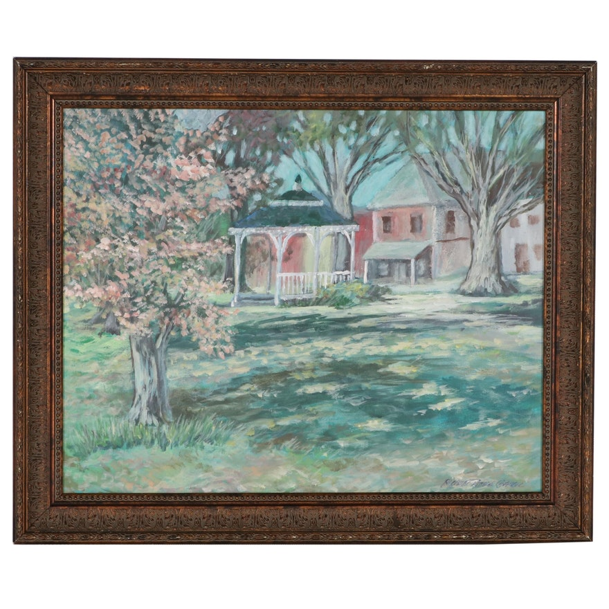 """Robert Riddle-Baker Acrylic Painting """"The Park at New Richmond, Ohio"""""""