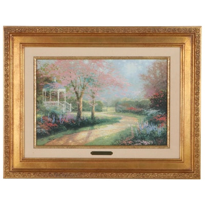 """Thomas Kinkade Hand-Embellished Offset Lithograph """"Morning Dogwood"""""""