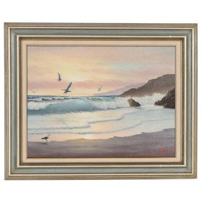 Doris Berry Beach Landscape Oil Painting, Late 20th Century