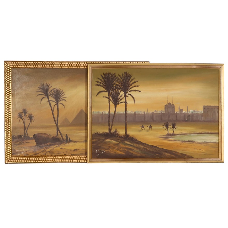 Egyptian Landscape Oil Paintings, Circa 1960