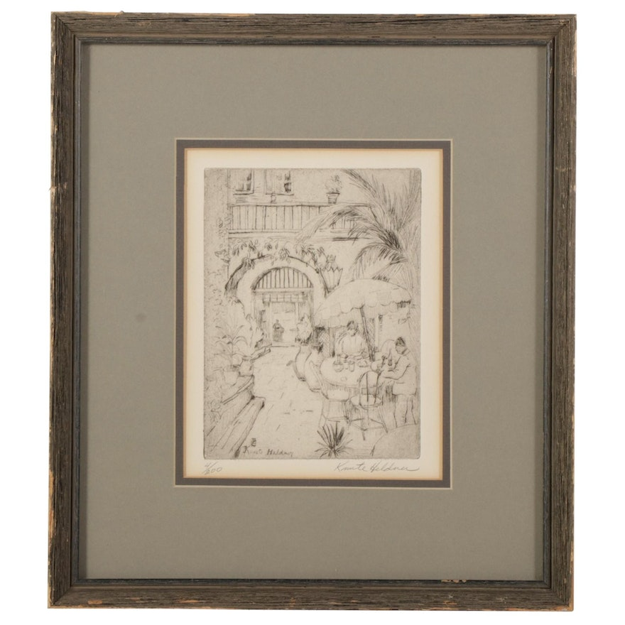 """Knute Heldman Etching """"Patio Royal - New Orleans,"""" Early-Mid 20th Century"""