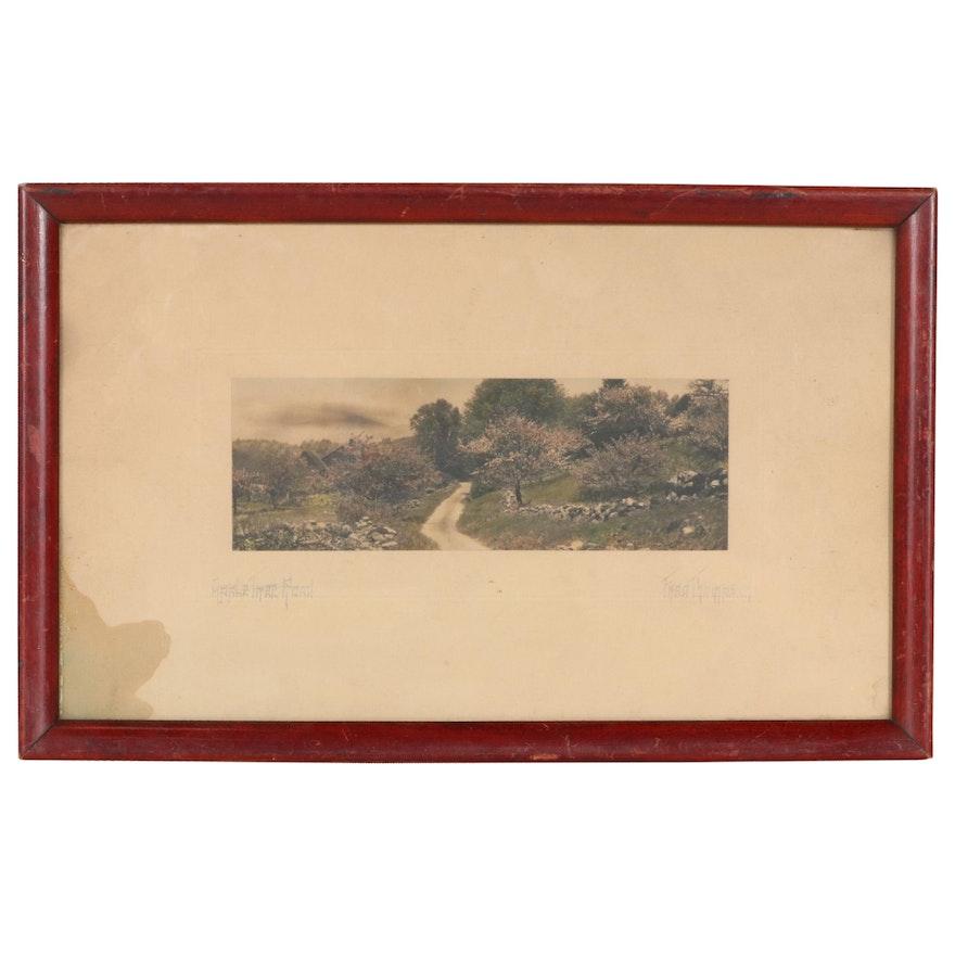 "Fred Thompson Hand-Tinted Photograph ""Apple Tree Road,"" Circa 1900"