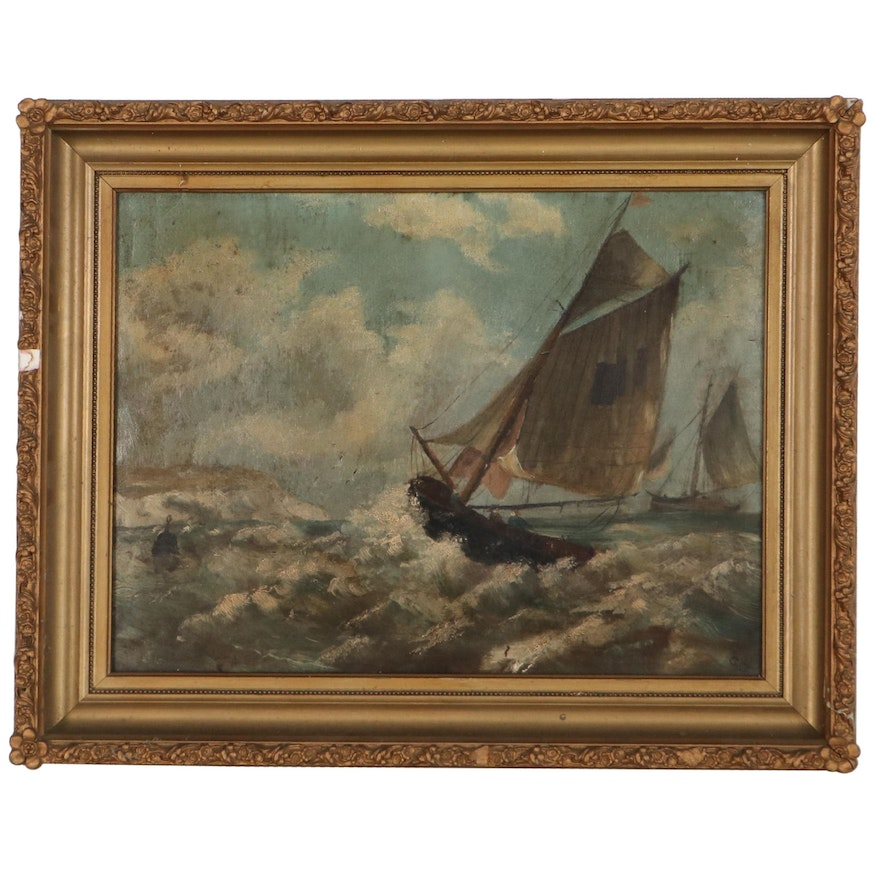 Nautical Oil Painting of Sail Boats, Late 19th Century