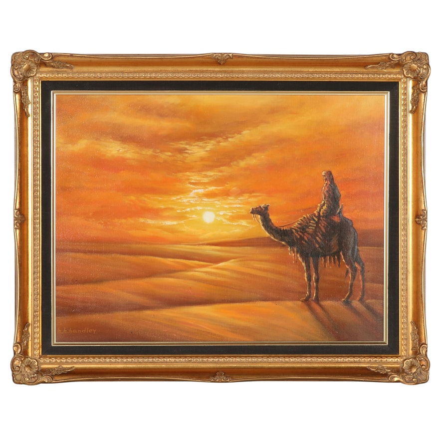 Oil Painting of Desert Scene, Late 20th Century
