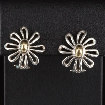 Paloma Picasso for Tiffany & Co. Sterling Flower Earrings with 18K Accent