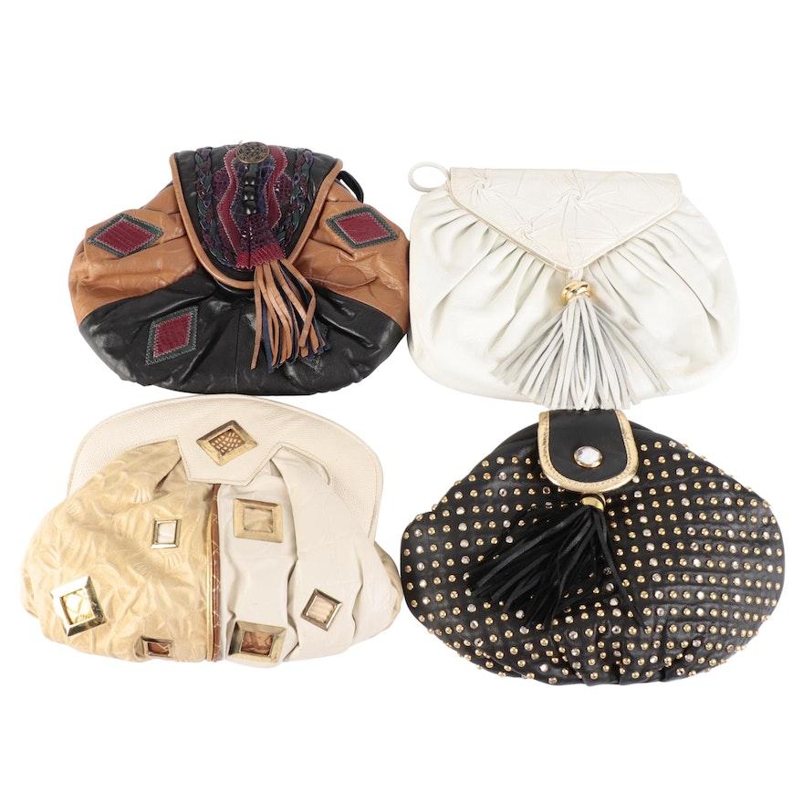 Studded and Embellished Leather Frame and Flap Front Shoulder Bags