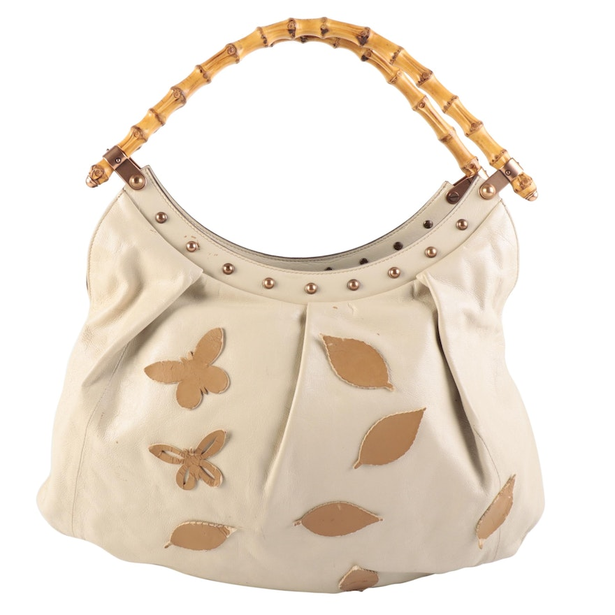 Gucci Bamboo Pleated Leather Shoulder Bag with Butterfly and Foliate Appliqués