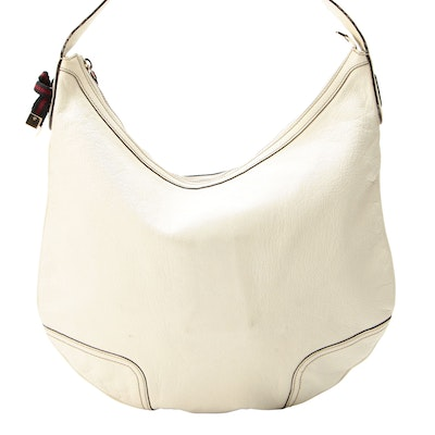 Gucci Princy Hobo Shoulder Bag in White Leather with Webbing Embellishment