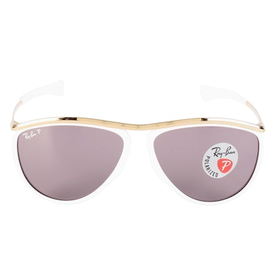 Ray-Ban RB2219 Polarized Olympian Aviator Sunglasses with Case and Box