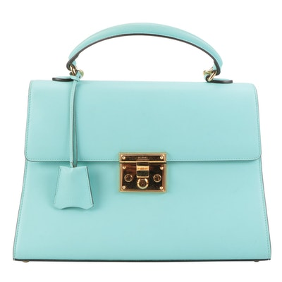Gucci Lockable Top Handle Bag in Leather with Detachable Shoulder Strap
