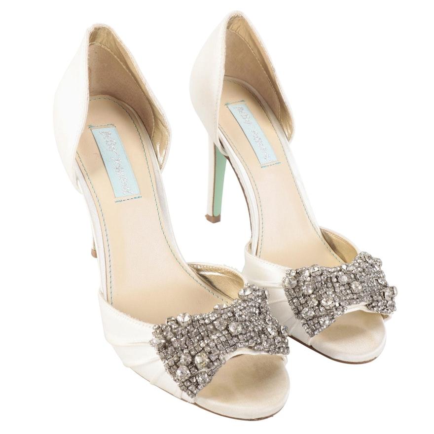 Betsey Johnson Rhinestone Embellished Open Toe d'Orsay Heels in White Satin