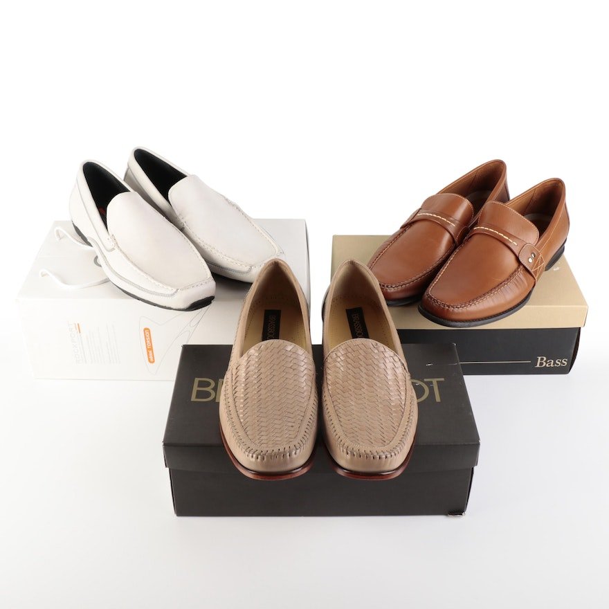 Men's Bass Brown Loafers, Rockport White Loafers, Brassboot Tan Woven Loafers