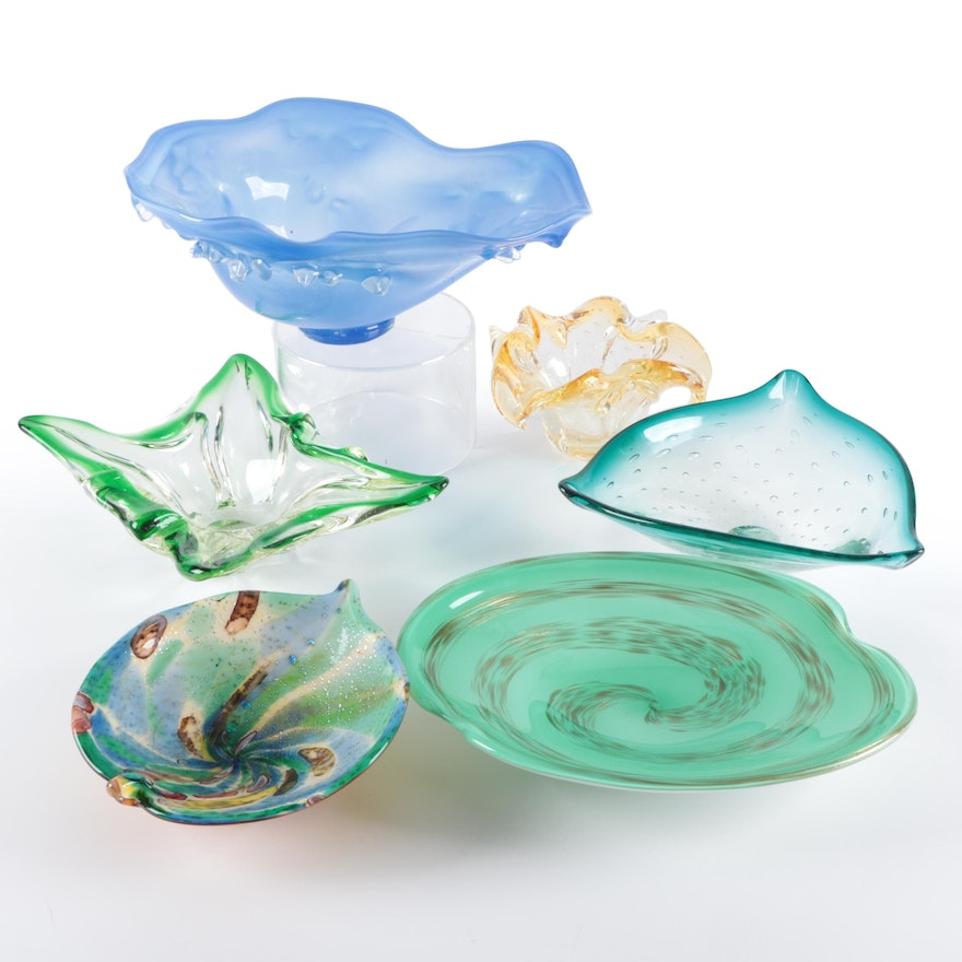 Murano Style Controlled Bubble Glass and Other Decorative Bowls