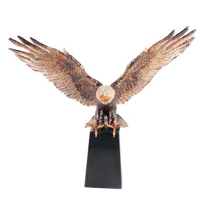 """Jay Strongwater """"Washington Grand Eagle"""" Enameled Pewter Eagle on Marble Plinth"""