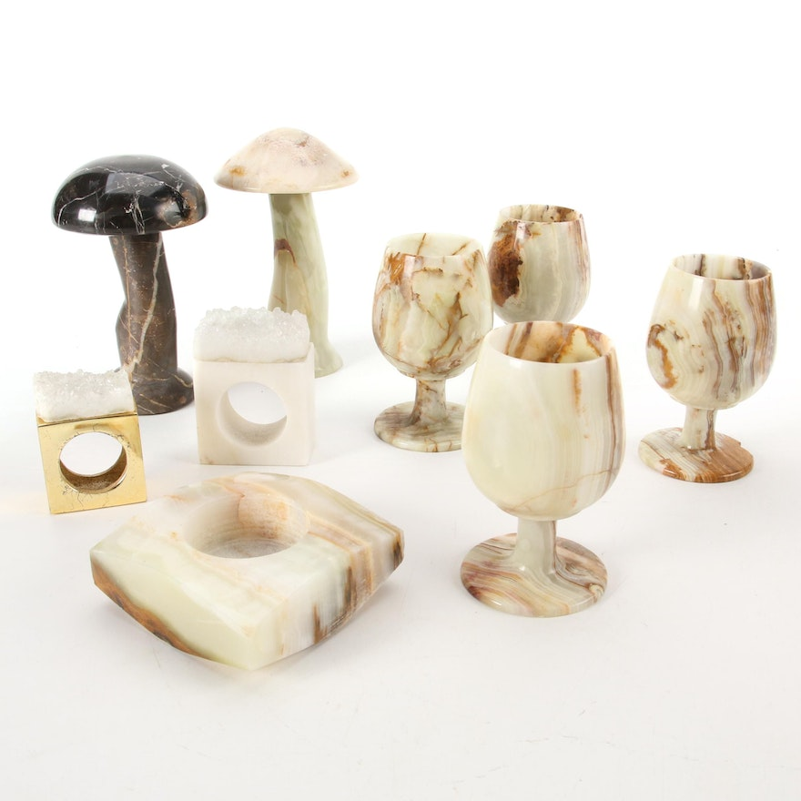 Onyx Stemware and Votive with Marble and Onyx Mushrooms, Quartz Napkin Rings