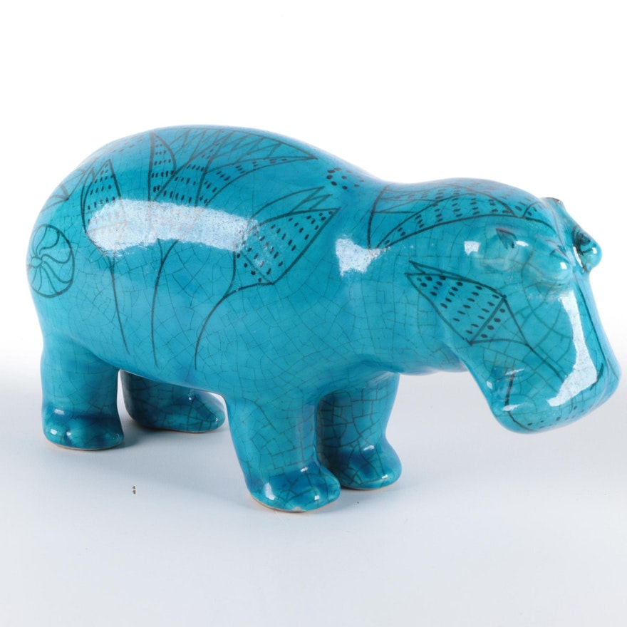 "Bitossi Rimini Blue ""William the Hippo"" Ceramic Statuette, Mid-20th C."