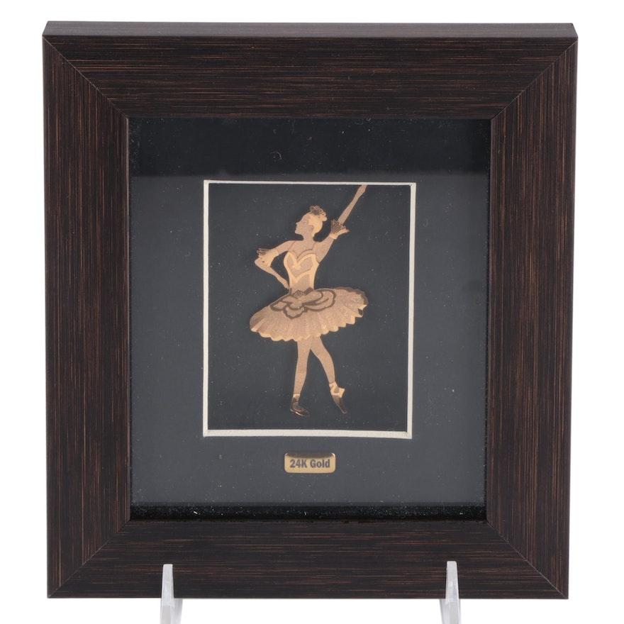 Layered 24K Gold Foil Ballerina Figure in Frame