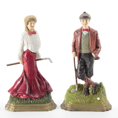Cast Iron Male and Female Golfer Figural Doorstops