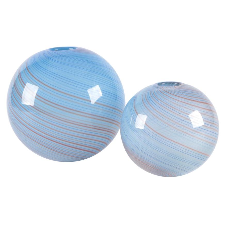 Handblown Blue and Red Filigree Art Glass Vases