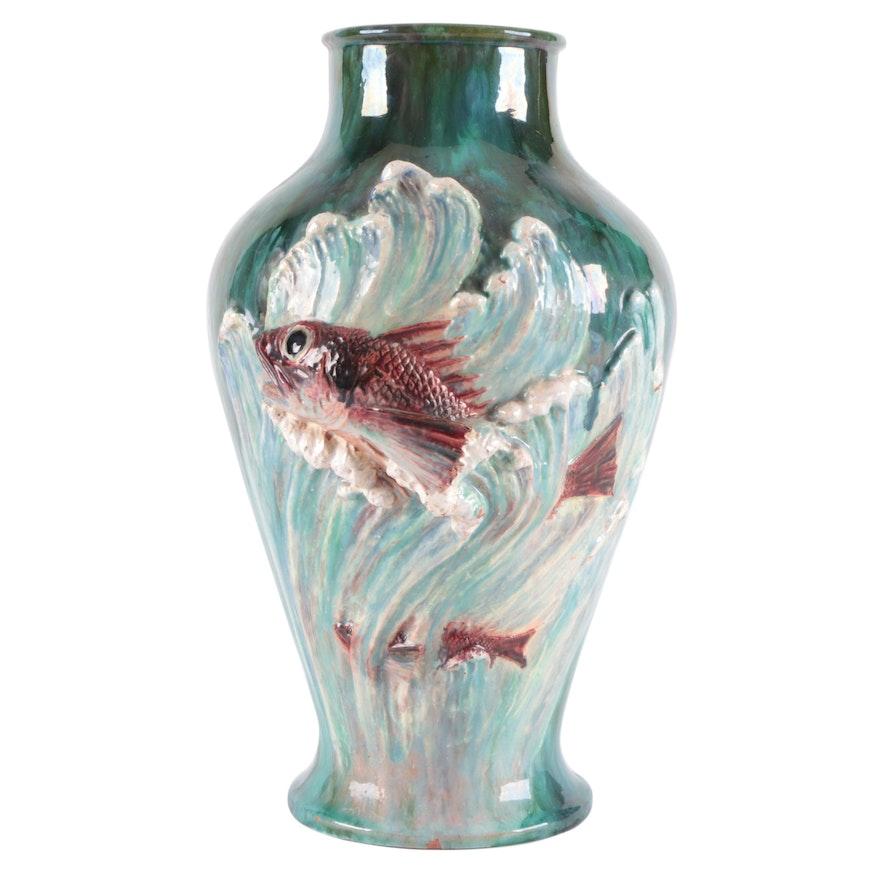 Art Pottery Ceramic Vase with Applied Koi Fish