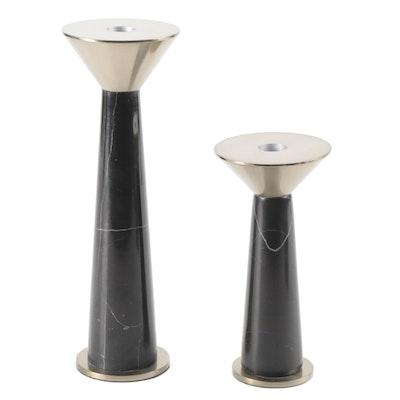 Modernist Brass and Black Marble Candlesticks