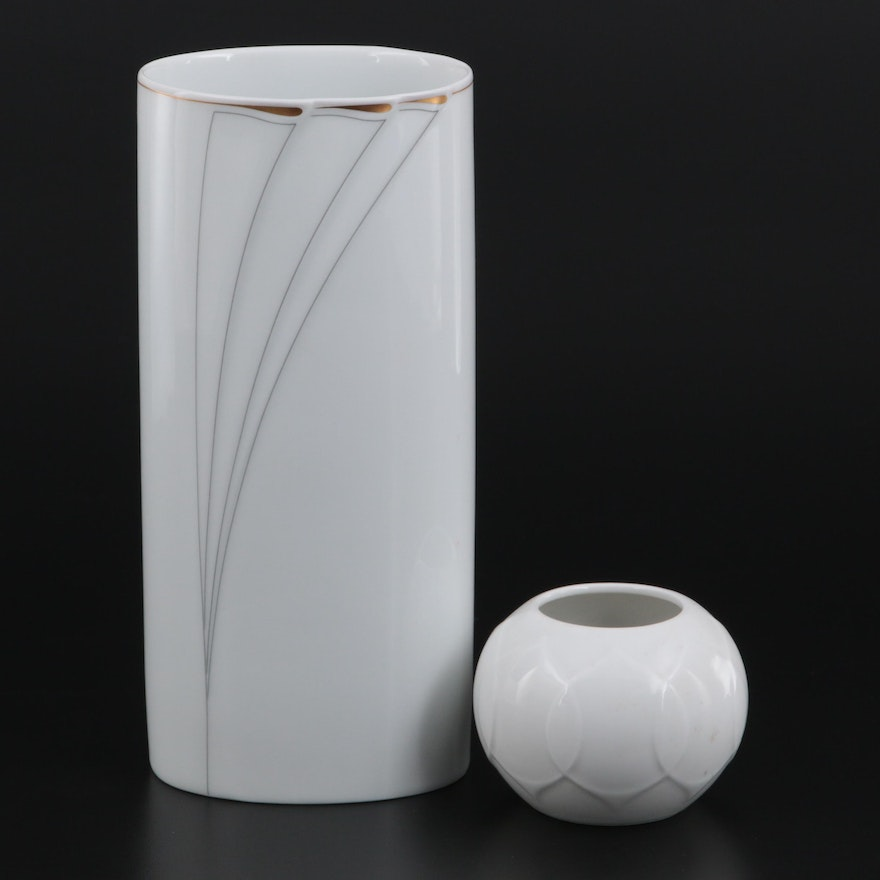 """Hutschenreuther """"Blanche"""" Porcelain Vase with Rosenthal Candle Holder"""