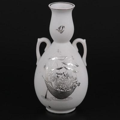 """Stig Lindberg for Gustavsberg """"Grazia"""" Silver Overlaid Stoneware Vase, c. 1950"""