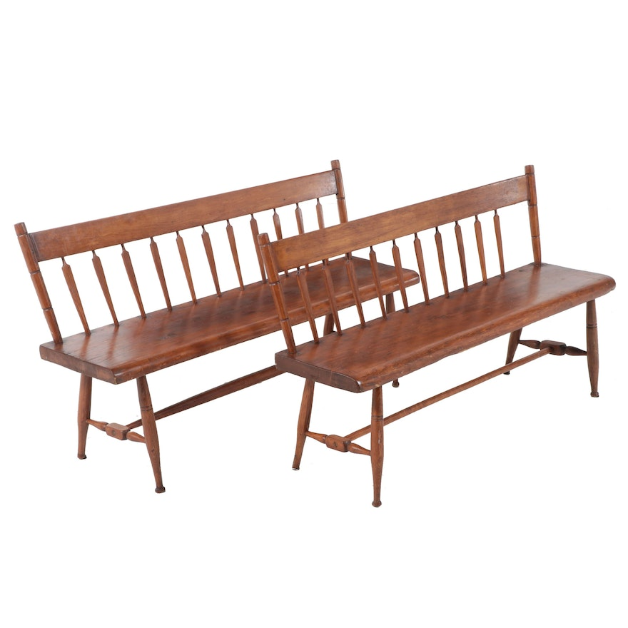 Near Pair of American Primitive Pine and Ash Arrow-Back Benches, 19th Century