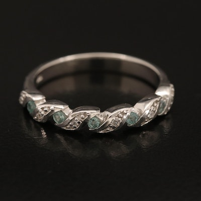 Sterling Alexandrite and Zircon Braided Band