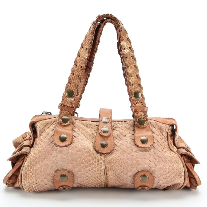 Chloé Silverado Satchel Handbag in Python and Leather