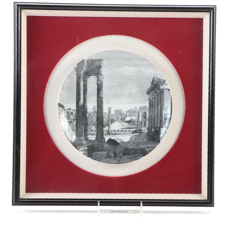 """Fornasetti """"Rovine"""" Mounted and Framed Porcelain Collector's Plate"""