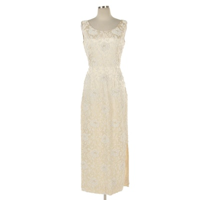 Bead Embellished Ivory Satin Sleeveless Evening Dress with Hand-Beaded Florals