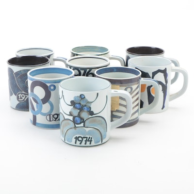Royal Copenhagen Artist Signed Porcelain Annual Mugs with Sterling Coins, 1970s
