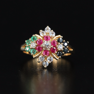 10K Floral Sapphire, Ruby and Emerald Ring