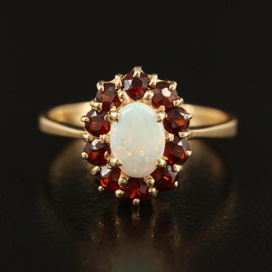 14K Opal and Garnet Ring