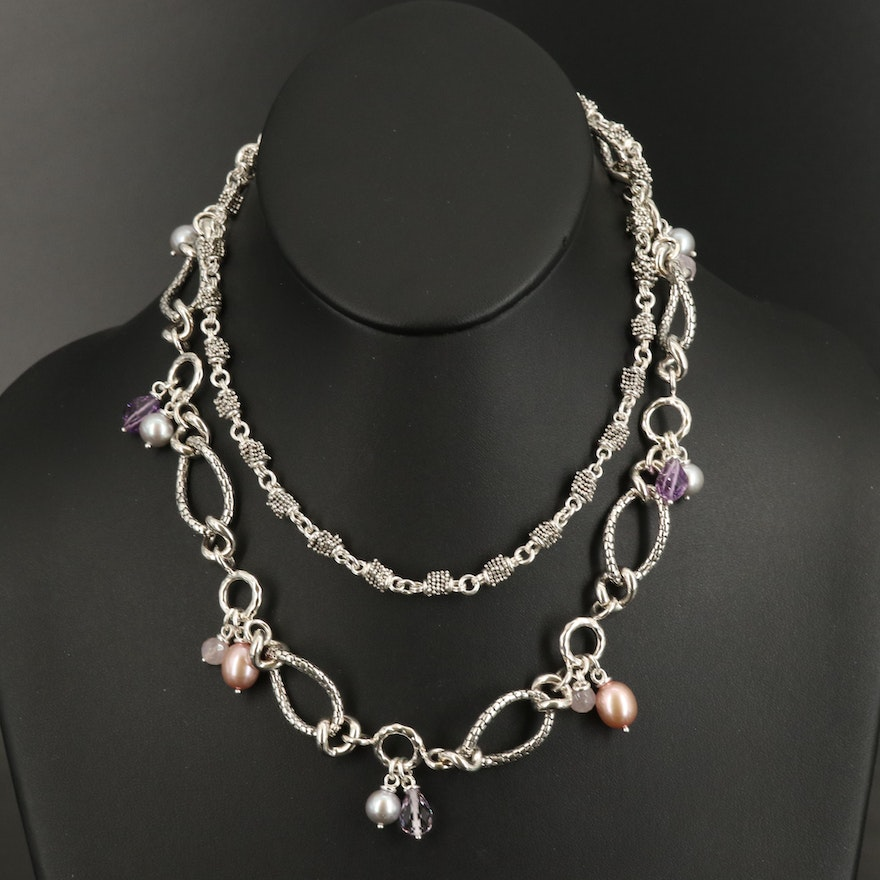 Michael Dawkins Sterling Necklaces with Rose Quartz, Pearl and Amethyst