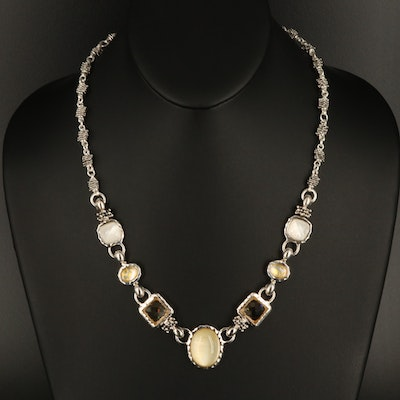 Michael Dawkins Necklace Including Quartz Mother of Pearl Doublet and Citrine