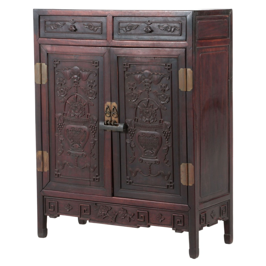 Chinese Carved Hardwood Cabinet, Late 19th/Early 20th Century