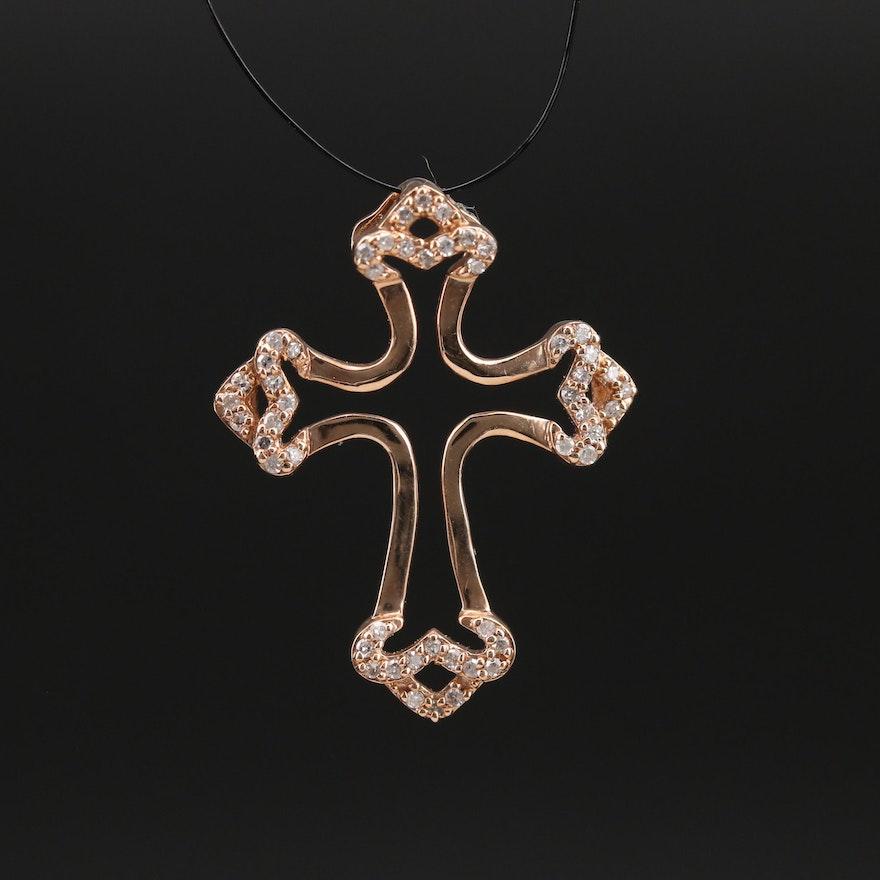 14K 0.22 CTW Diamond Cross Pendant
