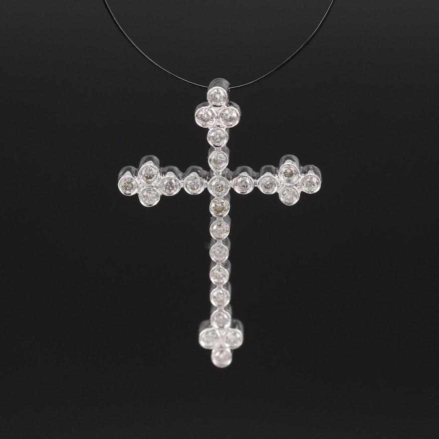 14K 0.25 CTW Diamond Cross Pendant