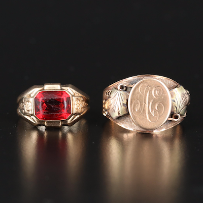 Vintage 10K Signet and Red Glass Rings