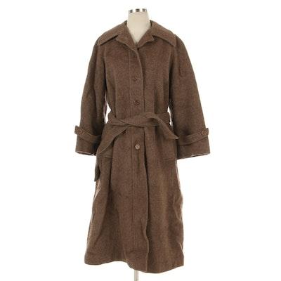 Bergdorf Goodman Wool Raglan Sleeve Coat with Self Belt