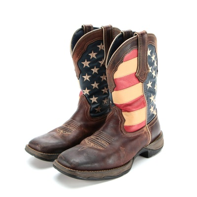 """Durango Lady Rebel American Flag/Brown Leather 10"""" Western Boots"""