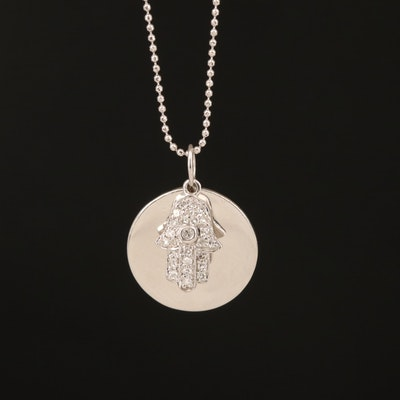 14K 0.12 CTW Diamond Hamsa Pendant Necklace